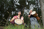 Pix: Shaun Flannery/sf-pictures.com....COPYRIGHT PICTURE>>SHAUN FLANNERY>01302-570814>>07778315553>>..12th July 2008...........Forestry Commission, Sherwood Pines, Drumming Festival..Sophia Alvarez of UpBeat Kids, Doncaster & Alexis Trudgen.
