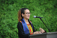 Graduating seniors, faculty and staff gather for the International Graduation Celebration, in the Mitchell Garden on Saturday, May 18, 2019.<br /> <br /> (Photo by John Valenzuela, Freelance Photographer)