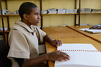 ETHIOPIA, Amhara, Gondar, school for blind children, reading braille letters / AETHIOPIEN, Amhara, Gonder, Schule fuer blinde Kinder, Blindenschrift lesen
