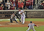 12 October 2012: Washington Nationals outfielder Michael Morse connects for a single in the bottom of the 8th inning of Postseason Playoff Game 5 of the National League Divisional Series against the St. Louis Cardinals at Nationals Park in Washington, DC. The Cardinals stunned the home team with a four-run rally in the 9th inning to defeat the Nationals 9-7 and win the NLDS, moving on to the NL Championship Series. Mandatory Credit: Ed Wolfstein Photo