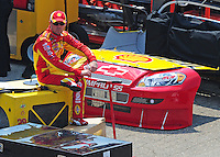 Jun 1, 2008; Dover, DE, USA; NASCAR Sprint Cup Series driver Kevin Harvick sits in the garage after crashing during the Best Buy 400 at the Dover International Speedway. Mandatory Credit: Mark J. Rebilas-US PRESSWIRE