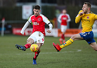 Fleetwood Town's Ched Evans shoots at goal  <br /> <br /> Photographer Andrew Kearns/CameraSport<br /> <br /> The EFL Sky Bet League One - Fleetwood Town v Charlton Athletic - Saturday 2nd February 2019 - Highbury Stadium - Fleetwood<br /> <br /> World Copyright © 2019 CameraSport. All rights reserved. 43 Linden Ave. Countesthorpe. Leicester. England. LE8 5PG - Tel: +44 (0) 116 277 4147 - admin@camerasport.com - www.camerasport.com