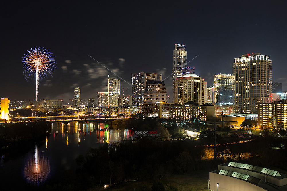 Austin rings in New Year with annual fireworks display over the ever booming downtown Austin skyline and Lady Bird Lake.