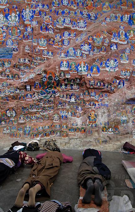 PILGRIMS AT YAOWANG MOUNTAIN SIDE, just out side Lhasa, Tibet