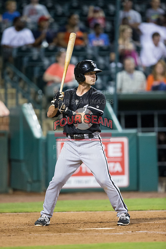 Grant Massey (16) of the Kannapolis Intimidators at bat against the Greensboro Grasshoppers at NewBridge Bank Park on July 7, 2016 in Greensboro, North Carolina.  The Dash defeated the Pelicans 13-9.  (Brian Westerholt/Four Seam Images)
