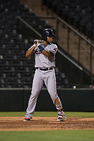 AZL Indians 2 first baseman Henderson De Oleo (17) at bat during an Arizona League game against the AZL Angels at Tempe Diablo Stadium on June 30, 2018 in Tempe, Arizona. The AZL Indians 2 defeated the AZL Angels by a score of 13-8. (Zachary Lucy/Four Seam Images)