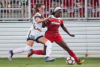 Boyds, MD. - Saturday, June 24 2017:  Celeste Boureille, Cheyna Williams during a regular season National Women's Soccer League (NWSL) match between the Washington Spirit and the Portland Thorns FC at Maureen Hendricks Field, Maryland SoccerPlex. The Washington Spirit defeated Portland Thorns FC 1-0.