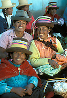 Smiling Quechua Indians at market in Yungay in the Andes, Peru