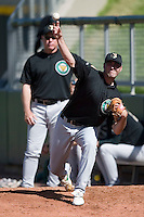 Kane County Cougars pitcher Craig Italiano (33) throws a bullpen session at Fifth Third Field in Dayton, OH, Monday, May 7, 2007.