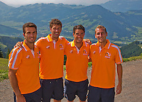 "Austria, Kitzbuhel, Juli 15, 2015, Tennis, Davis Cup, Dutch team on top of the ""Hahnenkam""  ltr:  Jean-Julien Rojer, Robin Haase, Jesse Huta Galung and  Thiemo de Bakker.<br /> Photo: Tennisimages/Henk Koster"