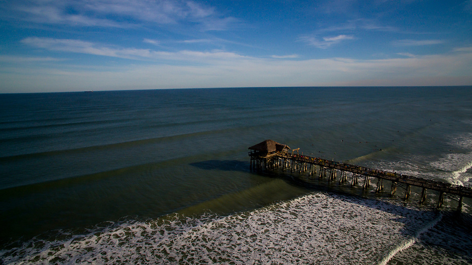 The Cocoa Beach Pier is seen from the air on Wednesday, Jan. 17, 2018, in Cocoa Beach, Florida. (Photo by James Brosher)