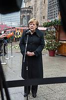 Gedenken am Dienstag den 19. Dezember 2017 anlaesslich des 1. Jahrestag des Terroranschlag auf den Weihnachtsmarkt auf dem Berliner Breitscheidplatz am 19.12.2016 durch den Terroristen Anis Amri.<br /> Im Bild: Bundeskanzlerin Angela Merkel gibt nach der Veranstaltung ein kurzes Pressestatement.<br /> 19.12.2017, Berlin<br /> Copyright: Christian-Ditsch.de<br /> [Inhaltsveraendernde Manipulation des Fotos nur nach ausdruecklicher Genehmigung des Fotografen. Vereinbarungen ueber Abtretung von Persoenlichkeitsrechten/Model Release der abgebildeten Person/Personen liegen nicht vor. NO MODEL RELEASE! Nur fuer Redaktionelle Zwecke. Don't publish without copyright Christian-Ditsch.de, Veroeffentlichung nur mit Fotografennennung, sowie gegen Honorar, MwSt. und Beleg. Konto: I N G - D i B a, IBAN DE58500105175400192269, BIC INGDDEFFXXX, Kontakt: post@christian-ditsch.de<br /> Bei der Bearbeitung der Dateiinformationen darf die Urheberkennzeichnung in den EXIF- und  IPTC-Daten nicht entfernt werden, diese sind in digitalen Medien nach §95c UrhG rechtlich geschuetzt. Der Urhebervermerk wird gemaess §13 UrhG verlangt.]