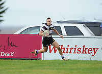 30th November 2013; Kevin O'Neill on his way to scoring a try for Terenure. Ulster Bank League Division 1B, Corinthians v Terenure, Corinthian Park, Galway. Picture credit: Tommy Grealy/actionshots.ie.