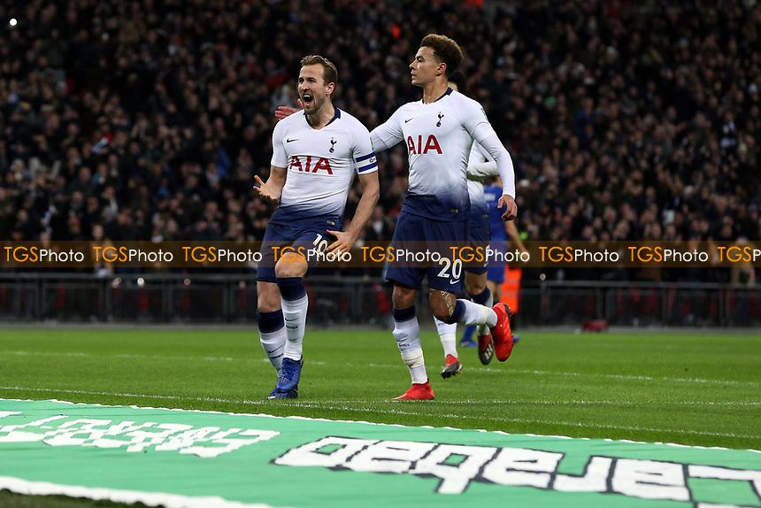 Harry Kane of Tottenham Hotspur celebrates scoring the first goal during Tottenham Hotspur vs Chelsea, Caraboa Cup Football at Wembley Stadium on 8th January 2019