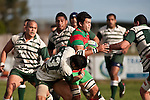 Sam Cole finds progress difficult as the Manurewa defenders surround him. Counties Manukau Premier Club Rugby game between Wauku & Manurewa played at Waiuku on Saturday June 6th. Manurewa won 36 - 31 after leading 14 - 12 at halftime.
