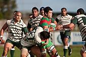 Sam Cole finds progress difficult as the Manurewa defenders surround him. Counties Manukau Premier Club Rugby game between Wauku & Manurewa played at Waiuku on Saturday June 6th. Manurewa won 36 - 31 after leading 14 - 12 at halftime.
