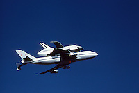 Space Shuttle being transported by a Boeing 747 Shuttle Carrier Aircraft