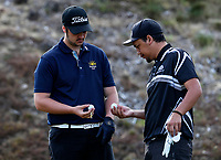 Kurtis Cortesi (L) of Poverty Bay EC and Tyson Tawera of Hawkes Bay. Day One of the Toro Interprovincial Men's Championship, Mangawhai Golf Club, Mangawhai,  New Zealand. Tuesday 5 December 2017. Photo: Simon Watts/www.bwmedia.co.nz