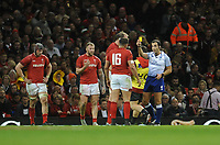 Referee Mathieu Raynal shows the yellow card to Wales' Elliot Dee<br /> <br /> Photographer Ian Cook/CameraSport<br /> <br /> Under Armour Series Autumn Internationals - Wales v Scotland - Saturday 3rd November 2018 - Principality Stadium - Cardiff<br /> <br /> World Copyright &copy; 2018 CameraSport. All rights reserved. 43 Linden Ave. Countesthorpe. Leicester. England. LE8 5PG - Tel: +44 (0) 116 277 4147 - admin@camerasport.com - www.camerasport.com
