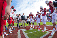 STANFORD, CA - NOVEMBER 15, 2014:  Coin toss before Stanford's game against Utah. The Utes defeated the Cardinal 20-17 in overtime.