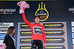 Geraint Thomas (WAL) Team Sky wins Stage 2 and also wears the Maglia Rossa sprints classification of the 2017 Tirreno Adriatico running 229km from Camaiore to Pomarance, Italy. 9th March 2017.<br /> Picture: La Presse/Gian Mattia D'Alberto | Cyclefile<br /> <br /> <br /> All photos usage must carry mandatory copyright credit (&copy; Cyclefile | La Presse)