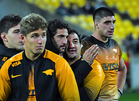 The Jaguares wait for the final whistle during the Super Rugby match between the Hurricanes and Jaguares at Westpac Stadium in Wellington, New Zealand on Friday, 17 May 2019. Photo: Dave Lintott / lintottphoto.co.nz