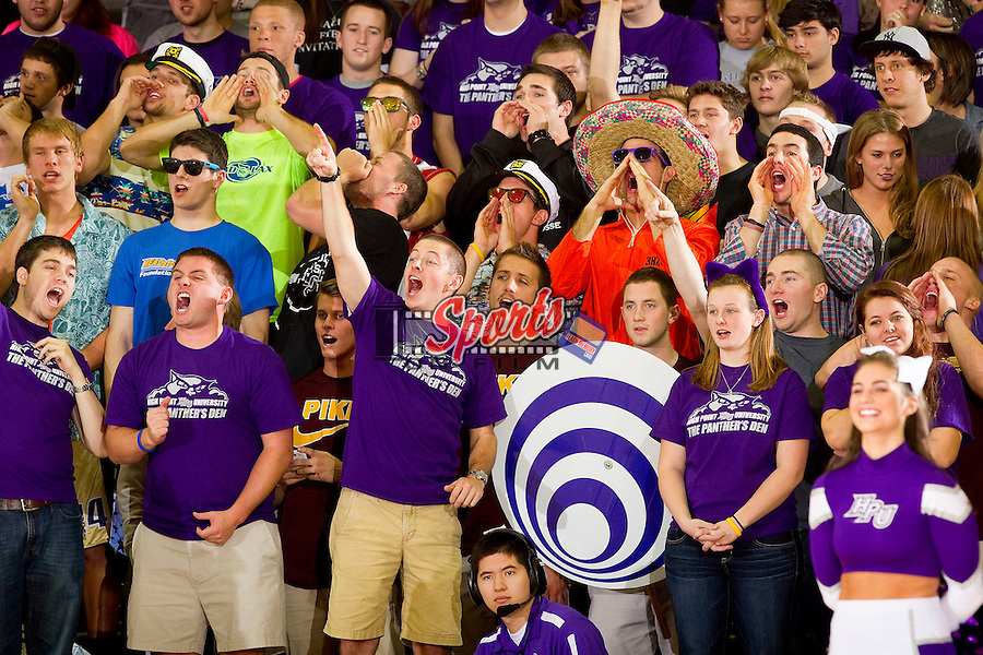 """The """"Panthers Den"""" student section cheers on their High Point Panthers during the game against the UNCG Spartans at Millis Athletic Center on November 9, 2012 in High Point, North Carolina.  The Panthers defeated the Spartans 81-73.   (Brian Westerholt/Sports On Film)"""