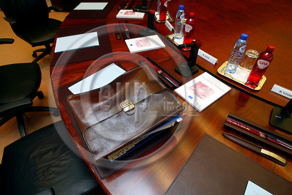 BRUSSELS - BELGIUM -14 JULY 2004--The seat at the meeting table of Mr. Olli REHN, the new Finnish Commissioner for Enterprise and Information Society, half an hour before the weekly Commission meeting.--PHOTO: ERIK LUNTANG / EUP-IMAGES