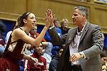 17 January 2016: Boston College head coach Erik Johnson high fives Alexa Coulombe (13). The Duke University Blue Devils hosted the Boston College Eagles at Cameron Indoor Stadium in Durham, North Carolina in a 2015-16 NCAA Division I Women's Basketball game. Duke won the game 71-51.