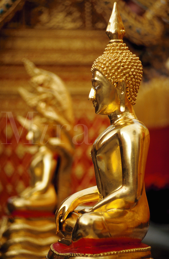 Golden Buddha in Wat Phra That Doi Suthep temple, Thailand