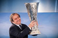 Il Presidente UEFA Michel Platini parla durante la cerimonia di consegna del Trofeo dell'Europa League a Palazzo Madama di Torino  Europa League Trophy Handover   <br /> Uefa President Michel Platini attends the Europa League Trophy handover ceremony<br /> <br /> Torino 16/04/2014   Football Calcio   Foto Giorgio Perottino / Insidefoto