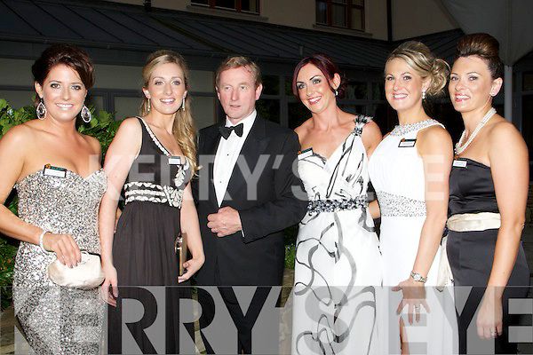 PAST:  Former Roses with Enda Kenney who attended the Rose of Tralee pre Rose Ball reception in the Carlton Hotel, Tralee on Friday evening Oliva Buckley (2002 Kerry Rose), Clare Roche (Dublin Rose), Karen Comer (Galway Rose), Sheila Broderick (Limerick Rose) and Nicola Dowling (UK Rose).