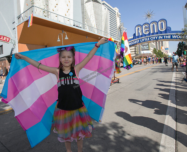 Nine-year old Jo during the Pride Parade in Reno, Nevada on Saturday, July 27, 2019.