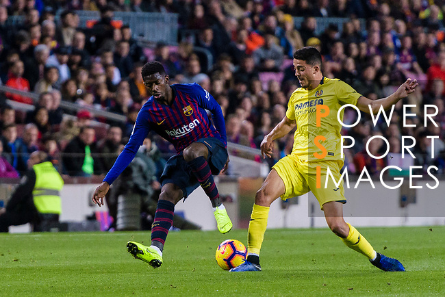 Ousmane Dembele of FC Barcelona (L) in action against Pablo Fornals of Villarreal (R) during the La Liga 2018-19 match between FC Barcelona and Villarreal at Camp Nou on 02 December 2018 in Barcelona, Spain. Photo by Vicens Gimenez / Power Sport Images