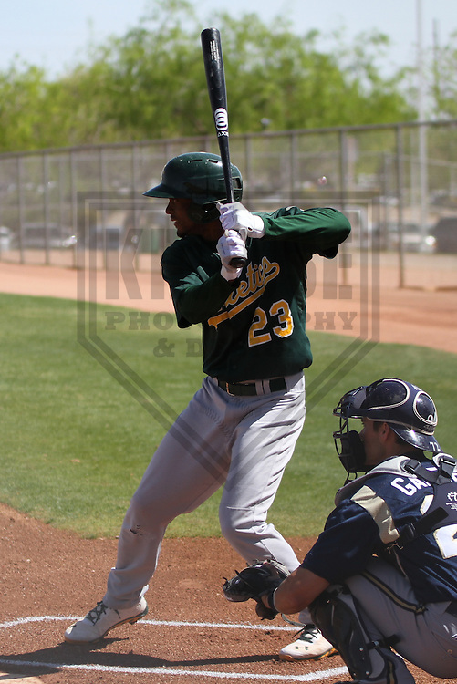 MARYVALE - March 2014: Aaron Shipman (23) of the Oakland Athletics during a spring training game against the Milwaukee Brewers on March 18th, 2014 at Maryvale Baseball Park in Maryvale, Arizona.  (Photo Credit: Brad Krause)