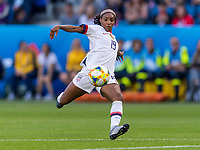 LE HAVRE,  - JUNE 20: Crystal Dunn #19 shoots during a game between Sweden and USWNT at Stade Oceane on June 20, 2019 in Le Havre, France.