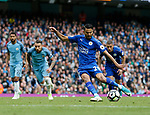 Riyad Mahrez of Leicester City slips as he takes a penalty, it was disallowed for a double movement of the ball during the English Premier League match at the Etihad Stadium, Manchester. Picture date: May 13th 2017. Pic credit should read: Simon Bellis/Sportimage