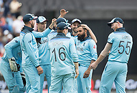 Adil Rashid (England) congratulated by team mates on the wicket of Carey during Australia vs England, ICC World Cup Semi-Final Cricket at Edgbaston Stadium on 11th July 2019