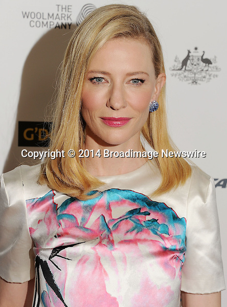 Pictured: Cate Blanchett<br /> Mandatory Credit &copy; Joseph Gotfriedy/Broadimage<br /> 2014 G'Day USA Los Angeles Black Tie Gala - Red Carpet<br /> <br /> 1/11/14, Los Angeles, California, United States of America<br /> <br /> Broadimage Newswire<br /> Los Angeles 1+  (310) 301-1027<br /> New York      1+  (646) 827-9134<br /> sales@broadimage.com<br /> http://www.broadimage.com