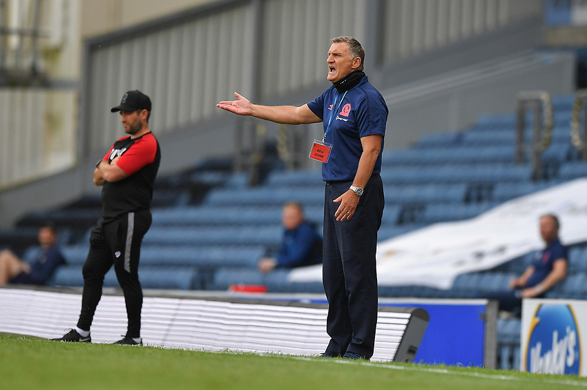 Blackburn Rovers' Manager Tony Mowbray Shouts to his team during the game<br /> <br /> Photographer Dave Howarth/CameraSport<br /> <br /> The EFL Sky Bet Championship - Blackburn Rovers v Bristol City - Saturday 20th June 2020 - Ewood Park - Blackburn<br /> <br /> World Copyright © 2020 CameraSport. All rights reserved. 43 Linden Ave. Countesthorpe. Leicester. England. LE8 5PG - Tel: +44 (0) 116 277 4147 - admin@camerasport.com - www.camerasport.com