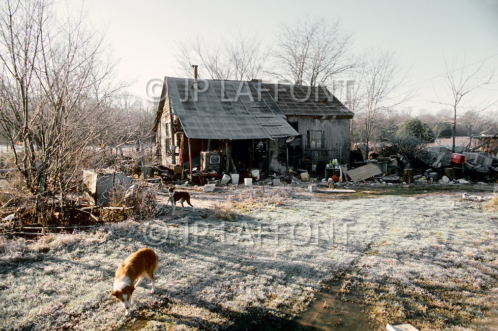 Havana, Arkansas, U.S.A, December, 1980. America severly marked by the recession. The home of an unemployed man.