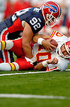 13 November 2005: Kansas City Chiefs quarterback Trent Green (10) is sacked by defensive end Ryan Denney (92) of the Buffalo Bills at Ralph Wilson Stadium in Orchard Park, NY. The Bills defeated the Chiefs 14-3. ..Mandatory Photo Credit: Ed Wolfstein