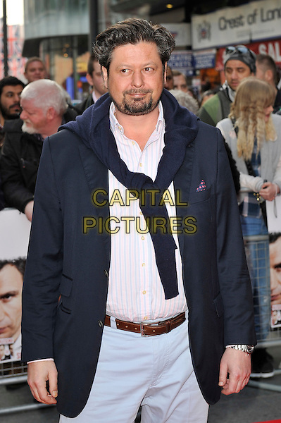 Sebastian Dehnhardt.The UK Premiere of 'Klitschko', Empire Cinema, Leicester Square, London, England. .21st May 2012.half length white shirt blue suit jacket jumper knotted around over shoulder beard facial hair.CAP/MAR.© Martin Harris/Capital Pictures.