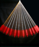 SIMPLE PENDULUM - Stroboscopic image<br /> Swinging Through Its Period<br /> The pendulum moves faster at the bottom.