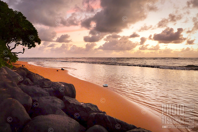 "Sunrise at ""Baby Beach"" in Kap'aa, Kaua'i."