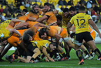 The Jaguares drive towards the tryline during the Super Rugby match between the Hurricanes and Jaguares at Westpac Stadium in Wellington, New Zealand on Friday, 17 May 2019. Photo: Dave Lintott / lintottphoto.co.nz