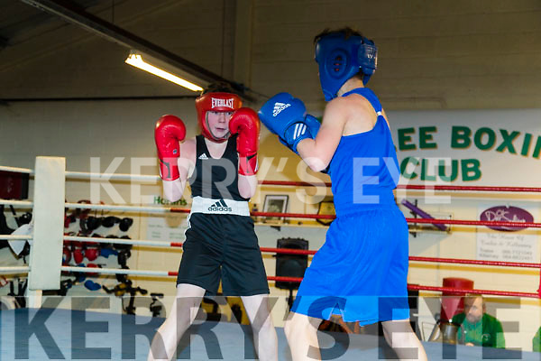 Jonathan O'Brien Tralee (in Red) and Zack Coakley Bantry (in Blue) in the Tralee Boxing Club annual tournament on Sunday last.
