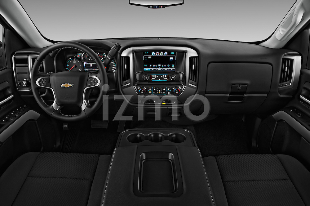Stock photo of straight dashboard view of 2016 Chevrolet Silverado-1500 LT-Double-Cab-Std-Box 4 Door Pick-up Dashboard