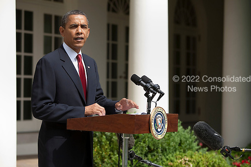 Washington, DC - May 25, 2009 -- United States President Barack Obama makes a statement about North Korea in the Rose Garden of the White House Washington, D.C., U.S., Monday, May 25, 2009..Credit: Joshua Roberts - Pool via CNP