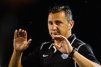 FC Kansas City head coach Vlatko Andonovski. FC Kansas City defeated Sky Blue FC 1-0 during a National Women's Soccer League (NWSL) match at Yurcak Field in Piscataway, NJ, on July 28, 2013.